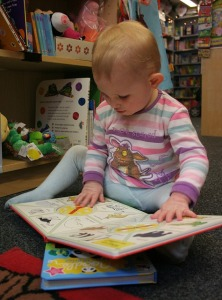 Baby, reading.