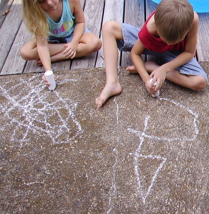 Summer fun, carefree, with chalk art
