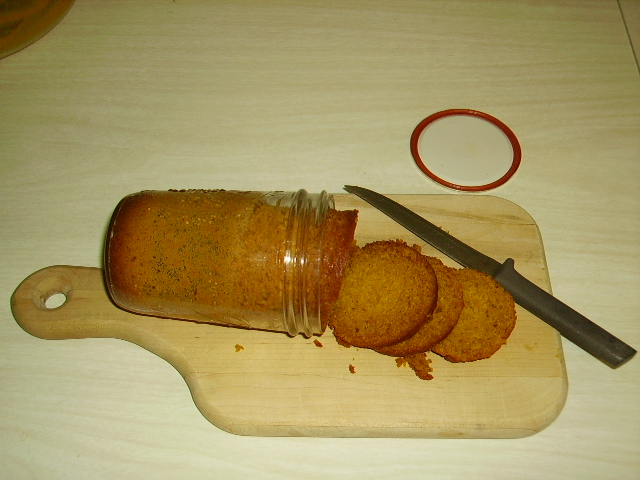 Much later: Canned pumpkin bread loosens easily and slices breezily. Mmm!