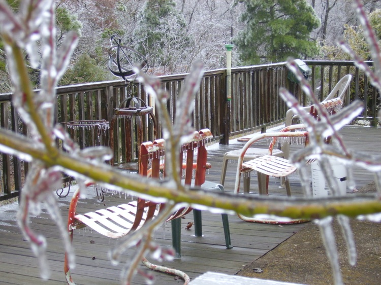 Ice everywhere outdoors after Winter Storm Octavia