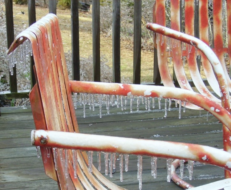 Lounge Chairs covered in Ice after Winter Storm Octavia.