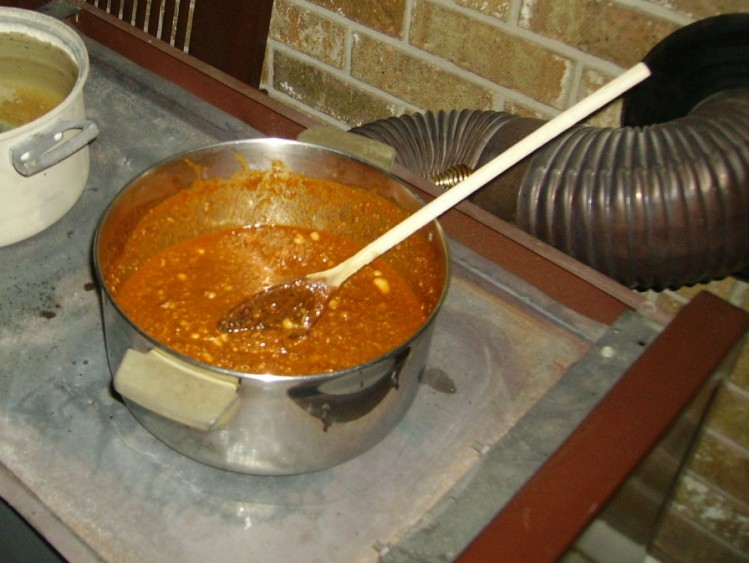 Cooking chili on wood stove because of Winter Storm Octavia