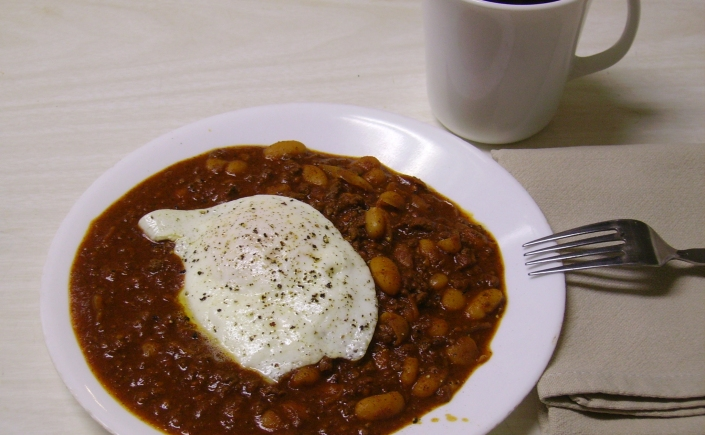 Hot chili with egg
